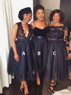 Navy Blue Short Mismatched Tea Length Bridesmaid Dress,703 · Happybridal · Online Store Powered by Storenvy