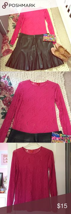 Sale!🎉Pink Lace Top Kirna Zabete for Target pink long sleeve lace top with scoop neck. Adorable top perfect to dress up or down and ideal for layering. Approximately 18 inches armpit to armpit and just about 30 inches in length from shoulder to hem. The top does have a bit of stretch and it's the perfect complement to jeans or circle skirts. Minimal wear; great condition. Kirna Zabete Tops Tees - Long Sleeve