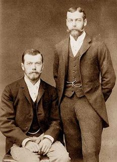 Vintage Royal Portrait - First cousins, King George V of Great Britain and Tsar Nicholas II of Russia. King George's mother, Queen Alexandra, was the elder sister of Tsar Nicholas' mother, Tsarina. Rey George, King George, European History, British History, Tsar Nicolas Ii, Otto Von Bismarck, Imperial Russia, Interesting History, Lady Diana