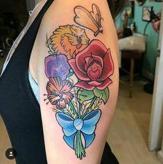 Alice im Wunderland Blumen Source tattoo designs, tattoo, small tattoo, meani Trendy Tattoos, New Tattoos, Small Tattoos, Girl Tattoos, Tattoos For Women, Tatoos, Disney Tattoos Small, Colorful Tattoos, Tattoo Disney