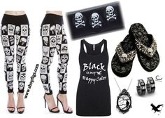 Black and White Skull clothing and sandals : skull leggings :Black is my Happy Color : all from www.shopftgs.com ! FTGS : Shopftgs : fuck that girly shit