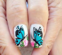 The Easiest Way To Beautify Acrylic Nails Butterfly Nail Designs, Butterfly Nail Art, Flower Nail Art, Nail Art Designs, Blue Butterfly, Nails Design, Pink Glitter Nails, Pink Ombre Nails, Rose Gold Nails