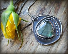 Labradorite necklace. Sterling silver  free form cabochon green flash labradorite necklace. Large labradorite pendant. One of a kind.