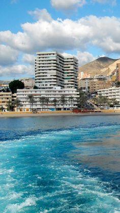 spain, andalusia, roquetas de mar, mountains, buildings, water, sea, waves, sky, clouds