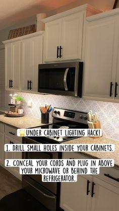 Kitchen Redo, Home Decor Kitchen, Home Kitchens, Redoing Kitchen Cabinets, Cheap Kitchen Makeover, Painting Kitchen Cabinets White, Dream Kitchens, Diy Cabinets, Under Cabinet Lighting