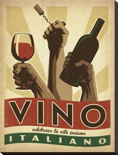 Vino Italiano Stretched Canvas Print by Anderson Design Group at Art.co.uk