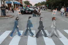 Artists Hector Diaz, left, and Ken Mullen overlook their recreation of the Beatles' Abbey Road album cover in Lake Worth, Florida Chalk Art Festival Famous Artwork, Famous Photos, Graffiti Murals, Mural Art, Wall Murals, Art Art, Abbey Road, 3d Sidewalk Art, Chalk Artist