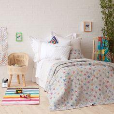 colcha y funda de coj n algod n estrellas colchas cama. Black Bedroom Furniture Sets. Home Design Ideas