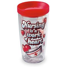 """Nursing is a work of Heart"" Insulated Tumbler - Commute Coffee Tea Smoothies, Dr Pepper Can, Coffee Tumbler, Insulated Tumblers, Travel Mugs, Tea Mugs, Scrubs, Nursing, Stuffed Peppers"