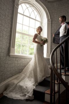 Stairwell first look photo by Clay Davis Weddings