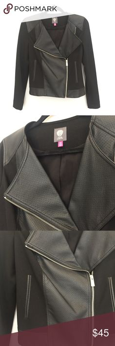 Vince Camuto Faux Leather Jacket • Vince Camuto • black faux leather jacket • has pockets • silver zipper • size XS • perfect condition, it's just been sitting in my closet for too long  Feel free to make an offer! Vince Camuto Jackets & Coats