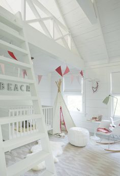 All white girls room with pops of pink: http://www.stylemepretty.com/living/2015/03/26/beachy-hamptons-house-tour/ | Photography: Emily Gilbert - http://www.emilygilbertphotography.com/
