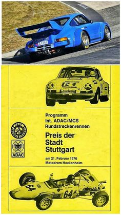 Porsche dominated sports car racing in Germany in the 1970's, as Eugen Kiemele demonstrated when he powered his blindingly quickPorsche 934 (pictured) to overwall victory at the Preis der Stadt Stuttgart on February 21 1976.  Second place went to Karl Gräffin a well prepared Opel Commodore, chased by a veritable flock of Porsches.