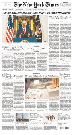 The final edition of today's 9/11 NYT got the 6-column lede treatment