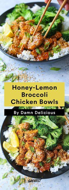 1. Honey-Lemon Chicken Broccoli Bowls #easy #dinner #recipes greatist.com/...