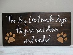 Custom Wood Dog Sign with Hand Painted Paw Prints  by SoulTattooSigns