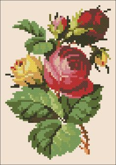 Red and yellow roses; a Pinterest classic for cross stitch (Berlin work).
