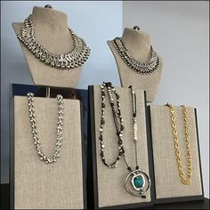 Fabric covered Uno de 50 Necklace Easel Displays provide a calm backdrop for the display of exciting designs in silver, gold, turquoise, and gemstones. Fashion Jewelry Stores, Fabric Covered, Easel, Hooks, Display, Turquoise, Gemstones, Chain, Silver