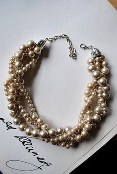 Bridesmaid Necklace? Chunky Champagne Pearl 4-Strand Twisted Statement Necklace