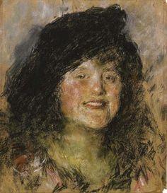 Donna con cappello von Antonio Mancini, pastel on cardboard