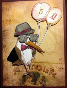 tim holtz crazy bird stamps and cards Crazy Bird, Crazy Cats, Cool Birthday Cards, Birthday Crafts, Happy Birthday, Tim Holtz Stamps, Purple Cards, Bird Cards, Animal Cards