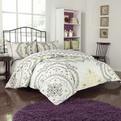 This luxurious comforter set is available in twin, queen and king sizes for any mattress set. It sports a tasteful floral pattern on both sides with a different pattern on the reverse for an option that offers variety for your bedroom ensemble.