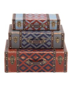 Another great find on #zulily! Red & Blue Diamond Suitcase Box Set #zulilyfinds