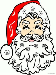Christmas Santa's Beard Countdown Math Activity