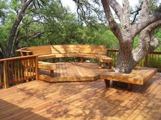 Amazing Backyard Wooden Deck Around A Giant Tree And Square Bench : Incredibly Wonderful Outdoor Space At The Backyard Of Your House With The Structure Ideas For Deck Around Tree Plans