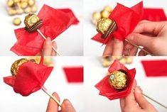 Ferrero Chocolate Bouquet for Valentine& Day {Tutorial - .- Ferrero Schokoladenstrauß zum Valentinstag {Tutorial – Ferrero chocolate bouquet for Valentine& Day {tutorial - Cake Pop Bouquet, Diy Bouquet, Candy Bouquet, Bouquets, Handmade Valentine Gifts, Valentines Diy, Valentine Day Love, Ferrero Chocolate, Ferrero Rocher