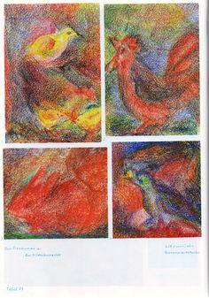 Taf. 43: Tierkunde 09 mit Bild.bucharb. in Bwfarb. (6./7. S.j.) 1. Vogel in Grün-Rot-Gelb und Huhn in Gelb-Bl.-Grün-Rot mit dunkelgrün. Vogel auf dem Kopf und gelb-rot. Küken davor auf rot-grün-gelb-schwarz. Bod. mit bl.-rot-grün-gelb. Hintergr. 2. Hahn in Rot und Schwarz auf grün-gelb-schwarz. Bod. mit bl.-grün-gelb-rot. Hintergr. 3. Hase oder Kaninchen in Rot-Braun auf grün-bl.-gelb-schwarz. Bod. mit rot-bl.-gelb. Hintergr. (...)