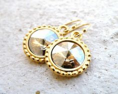 Bridal Earrings Swarovski Champagne Golden Rivoli by SomsStudio, $16.00