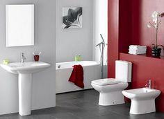White Red Paint Bathroom Color Idea Best Paint Colors for Bathrooms Bathroom Paint Colors, Bathroom Red, Bathroom Photos, Budget Bathroom, Bathroom Interior, Bathroom Ideas, Bathroom Wall, Small Bathroom, Red Bathrooms