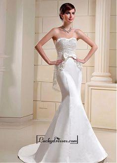 Alluring Satin&Lace Mermaid Sweetheart Neckline Natural Waistline Wedding Dress