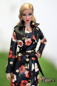 ELENPRIV black poppy printed leather trench coat #2 with full satin lining for Fashion royalty FR2 and similar body size dolls. by elenpriv on Etsy