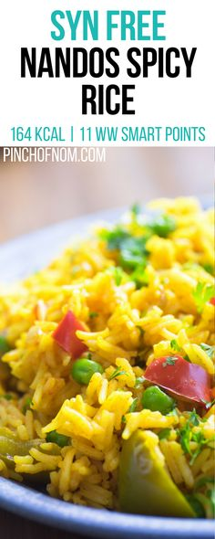 Recipes Slimming World Syn Free Nando's Spicy Rice Slimming World Dinners, Slimming Eats, Slimming World Recipes, Slimming Word, Healthy Rice, Healthy Cooking, Healthy Eating, Cooking Recipes, Healthy Food