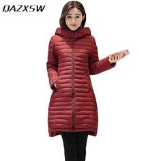 fbfdd725af1 QAZXSW Woman Basic Coat Woman Winter Jackets For Women Warm Outwear Hooded  Padded Plus Size Cotton