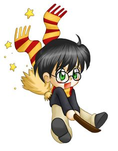 Harry Potter Chibi Image Harry on Broom Broomstick Flying