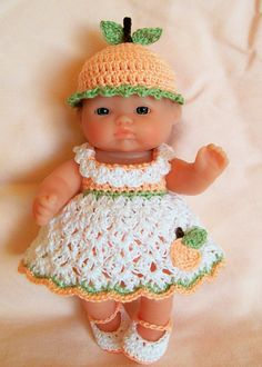 Berenguer Doll Clothes Crochet - 5 inch itty bitty Lots to Love Reborn Doll Clothes Crocheted Handmade. Ready hand crocheted to buy outfit.
