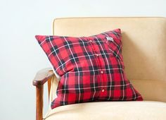 Flannel shirt holiday pillow cover