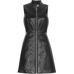 Marc By Marc Jacobs Faux patent leather dress ($294) ❤ liked on Polyvore featuring dresses, marc by marc jacobs, zip front dress, textured dress, snap dresses and urban dresses
