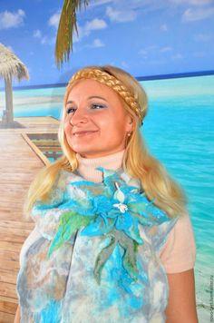 """Купить Валяный шарф 'Ближе к морю"""" - абстрактный, бирюзовый, валяный шарф, красивый шарф"""