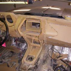 1969 Camaro custom interior. fiberglass dash dashboard. The guts car audio 12volts woodworking super glue dash custom interior how to