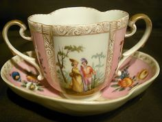 ANTIQUE MEISSEN HELENA WOLFSOHN CUP & SAUCER DOUBLE HANDLED SCENES FROM 1700's