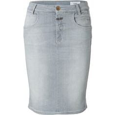 Closed - Stretch Denim Skirt in Grey ($165) ❤ liked on Polyvore featuring skirts, bottoms, grey, women, stretch denim skirt, gray skirt and grey skirt