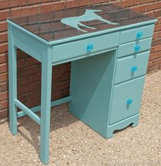 Ascp Provence Blue Painted Vintage Wood Childs Desk Kids Furniture