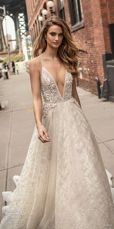 berta spring 2018 bridal spaghetti strap deep v neck full embellishment sexy romantic a  line wedding dress open back chapel train (2) zv -- Berta Spring 2018 Wedding Dresses