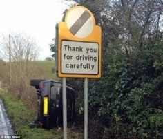 One picture shows a road sign reading 'Thank you for driving carefully' in front of a car that's flipped on its side