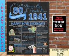 80th Birthday Party Decoration Poster, 1941 Blue Birthday Sign, 80th Birthday Gift for Woman or Man- Born in 1941 Digital Printable 80th Birthday Party Decorations, 70th Birthday Parties, Birthday Gift For Him, Sweet 16 Birthday, Birthday Signs, Blue Birthday, Chalkboard Poster, Birthday Chalkboard, Party Signs