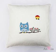 Blue owl embroidered decorative cushion cover. #DecorativeThrowpPillow #Embroidery #Handmadecushions #BlueOwl #AnHoa